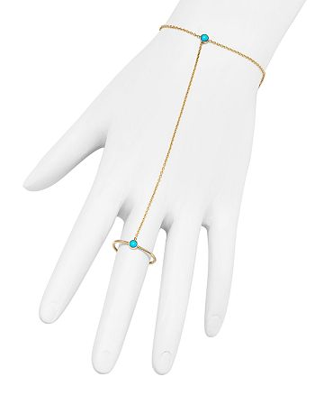 Zoë Chicco - 14K Yellow Gold and Turquoise Ring Hand Chain Bracelet