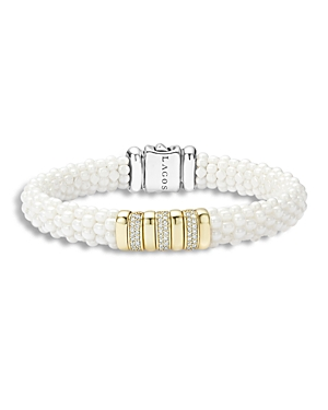 Lagos White Caviar Ceramic and 18K Gold Bracelet with Diamonds
