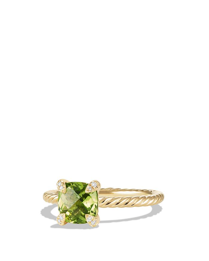 David Yurman - Châtelaine Ring with Peridot and Diamonds in 18K Gold