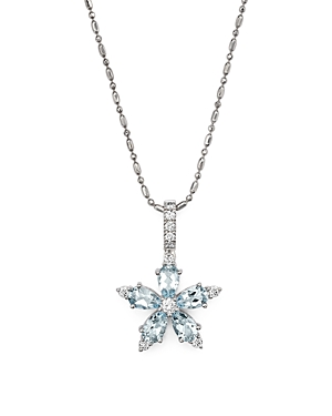 Aquamarine and Diamond Flower Pendant Necklace in 14K White Gold, 18 - 100% Exclusive