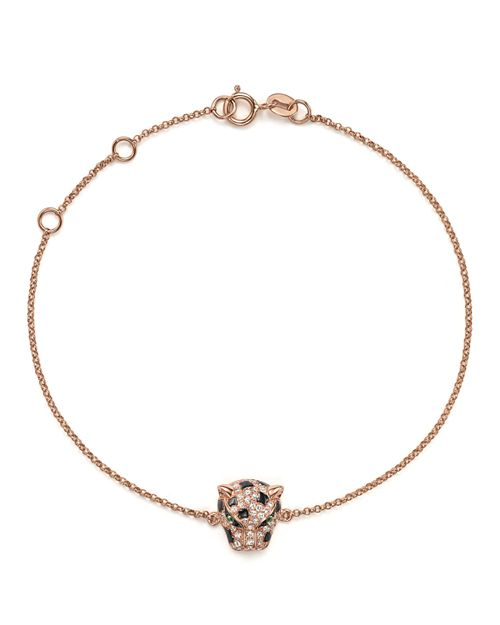 Bloomingdale's - Diamond and Tsavorite Panther Bracelet in 14K Rose Gold- 100% Exclusive