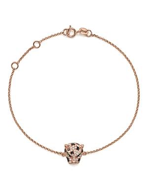 Diamond and Tsavorite Panther Bracelet in 14K Rose Gold