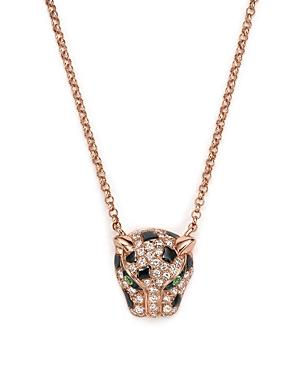 Diamond and Tsavorite Jaguar Pendant Necklace in 14K Rose Gold