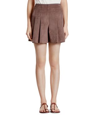 Halston Heritage Faux Suede Pleated Shorts