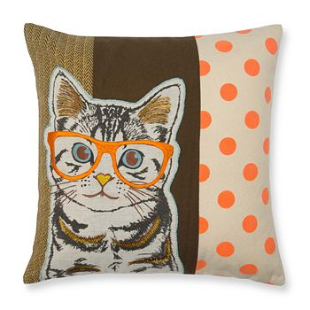 """Madura - Wise Cat Decorative Pillow Cover, 16"""" x 16"""""""