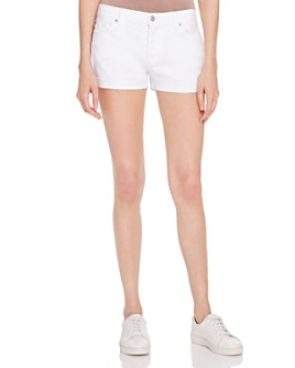 7 For All Mankind - Rolled-Cuff Denim Shorts in White - 100% Exclusive