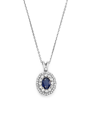 Diamond Halo and Sapphire Pendant Necklace in 14K White Gold, 16 - 100% Exclusive