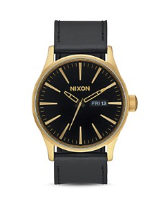 Nixon - Sentry Leather Strap Watch, 42mm