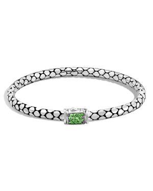 John Hardy Sterling Silver Dot Lava Slim Chain Bracelet with Tsavorite