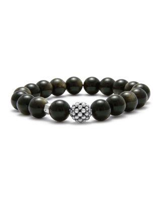 Caviar Ball Beaded Golden Obsidian Bracelet, 10Mm