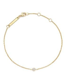Zoë Chicco - 14K Yellow Gold Chain Bracelet with Bezel-Set Diamond