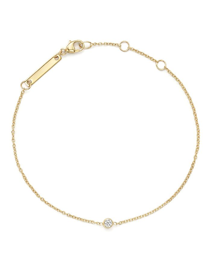 Zoë Chicco - 14K Yellow Gold Chain Bracelet with Bezel-Set Diamond