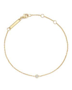 Zoe Chicco 14K Yellow Gold Chain Bracelet with Bezel-Set Diamond