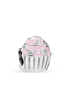 PANDORA Moments Collection Sterling Silver, Enamel & Cubic Zirconia Sweet Cupcake Charm - Bloomingdale's_0