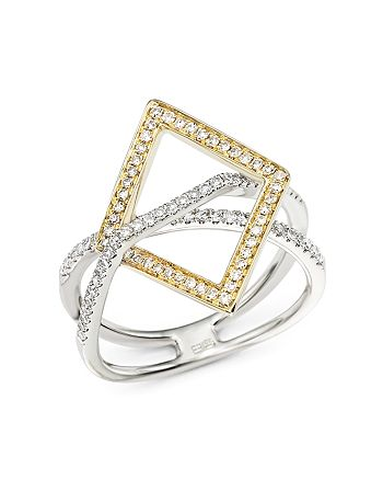 Bloomingdale's - Diamond Geometric Statement Ring in 14K White and Yellow Gold, .40 ct. t.w. - 100% Exclusive