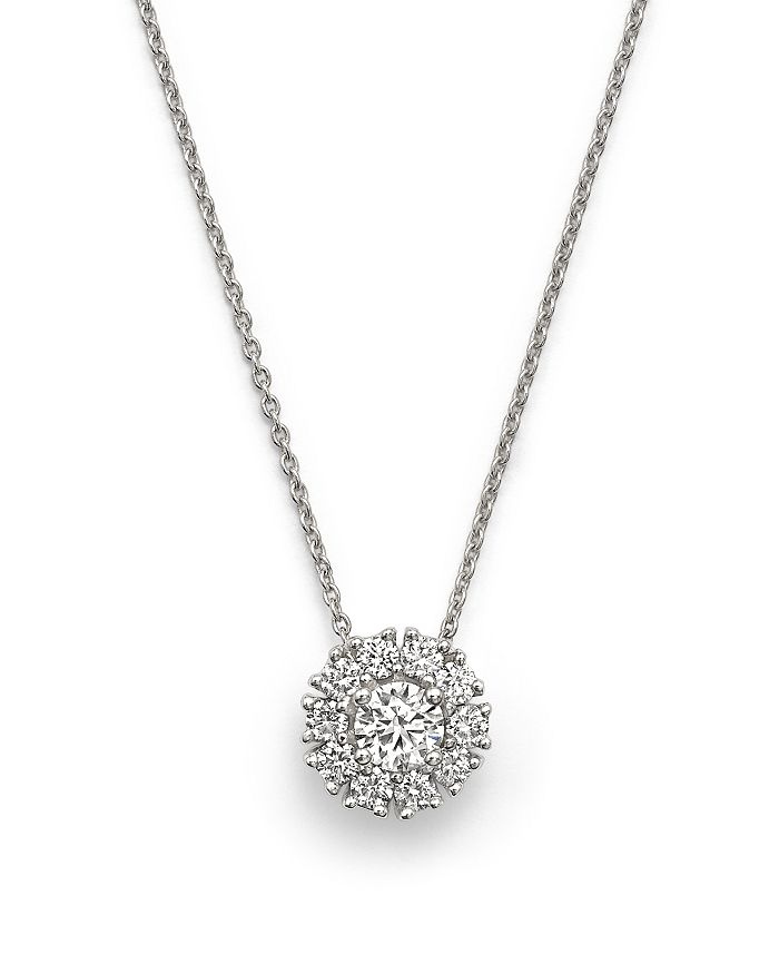 Roberto Coin - 18K White Gold Cluster Pendant Necklace with Diamonds, 16""