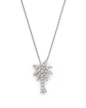 """Roberto Coin - 18K White Gold Palm Tree Pendant Necklace with Diamonds, 16"""""""