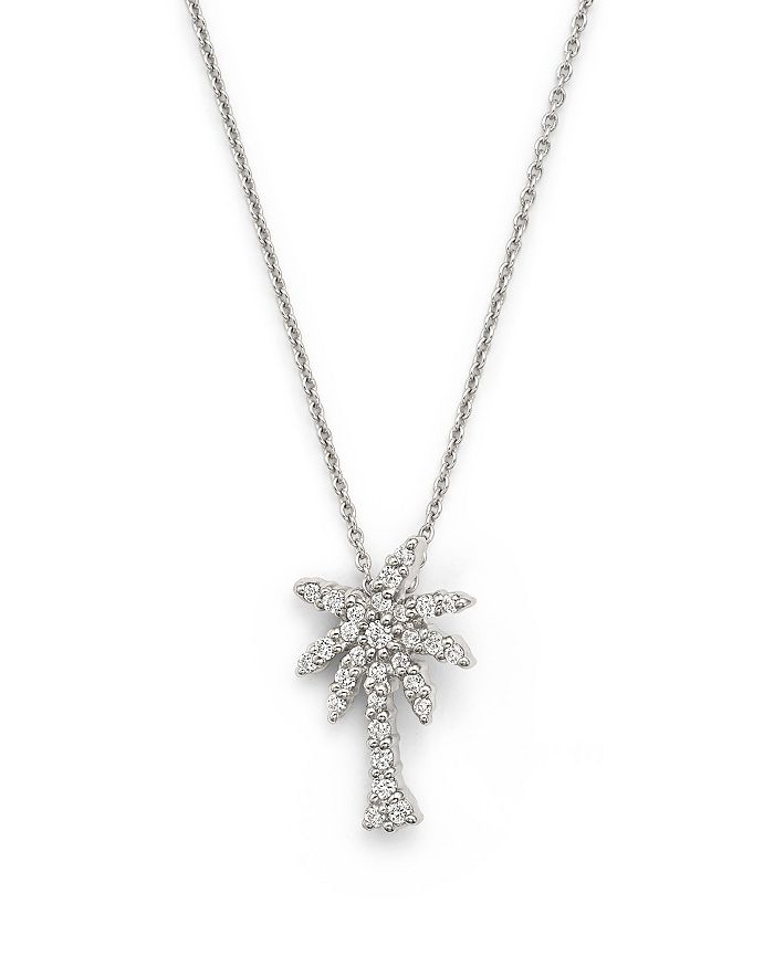 Roberto Coin - 18K White Gold Palm Tree Pendant Necklace with Diamonds, 16""