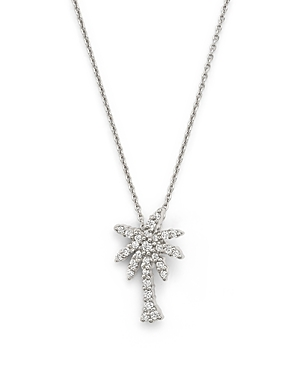 Roberto Coin 18K White Gold Palm Tree Pendant Necklace with Diamonds, 16
