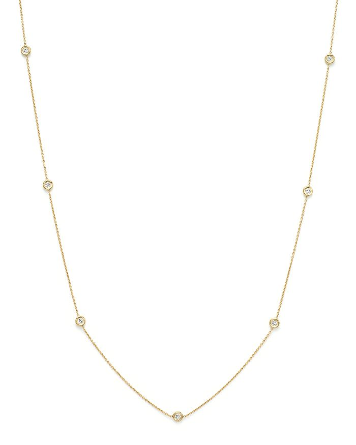 Roberto Coin - 18K Yellow Gold Seven Station Necklace with Diamonds, 18""