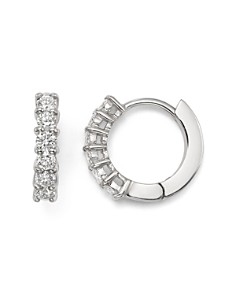 Roberto Coin - 18K White Gold Small Hoop Earrings with Diamonds