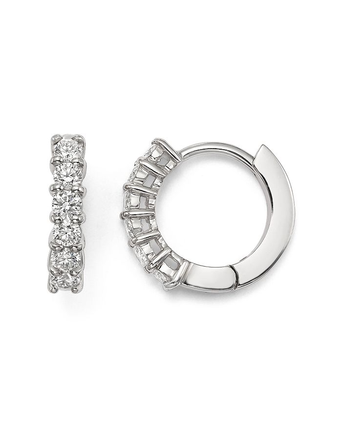 18k White Gold Small Hoop Earrings With Diamonds