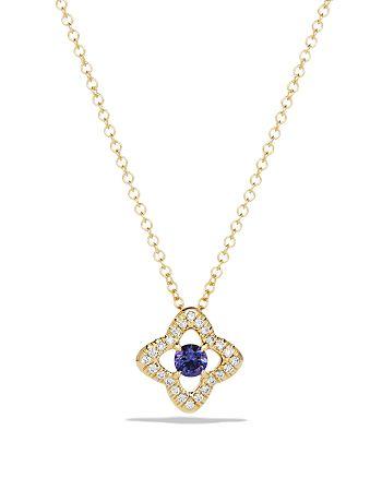 David Yurman - Venetian Quatrefoil Necklace with Tanzanite and Diamonds in 18K Gold