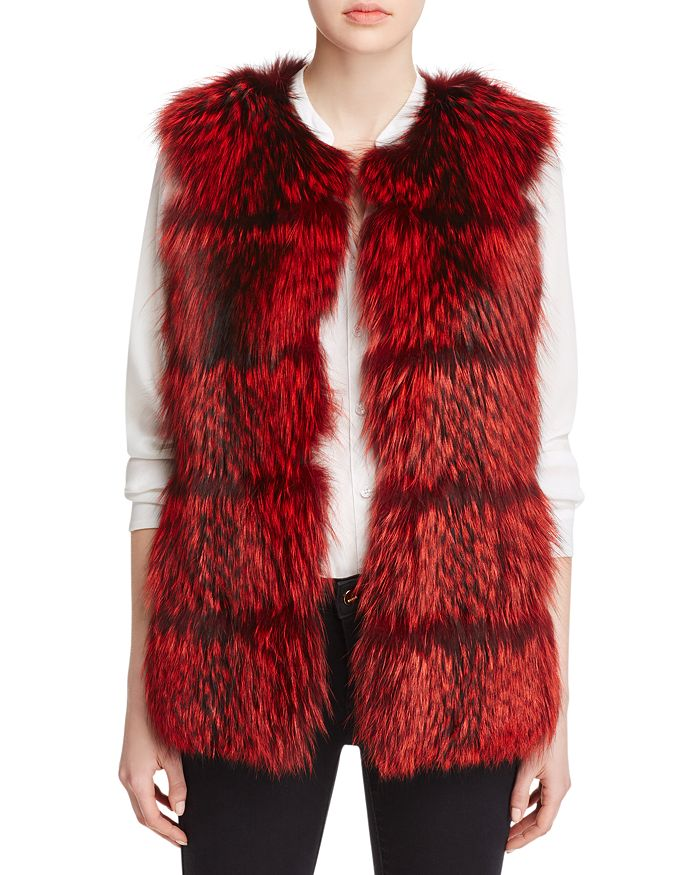 Maximilian Furs - Collarless Fox Fur Vest