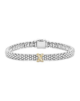 LAGOS - 18K Gold and Sterling Silver X Collection Rope Bracelet with Diamonds