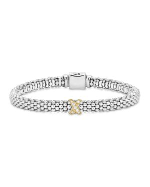 Lagos 18K Gold and Sterling Silver X Collection Rope Bracelet with Diamonds