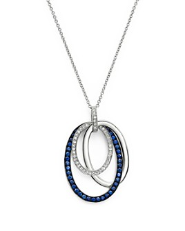 "Bloomingdale's - Blue Sapphire and Diamond Oval Pendant Necklace in 14K White Gold, 18"" - 100% Exclusive"
