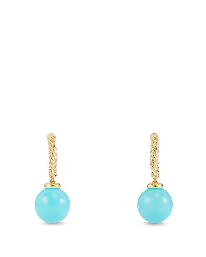 David Yurman - Solari Hoop Earrings with Turquoise in 18K Gold