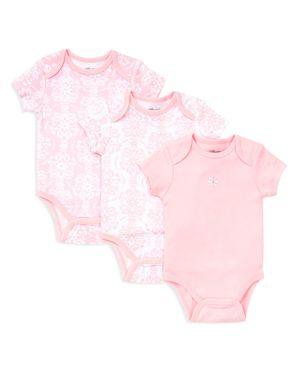 Little Me Girls' Damask Scroll Bodysuit, 3 Pack - Baby