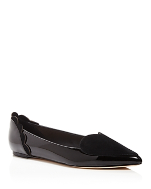 Isa Tapia Clement Suede and Patent Leather Heart Pointed Toe Flats