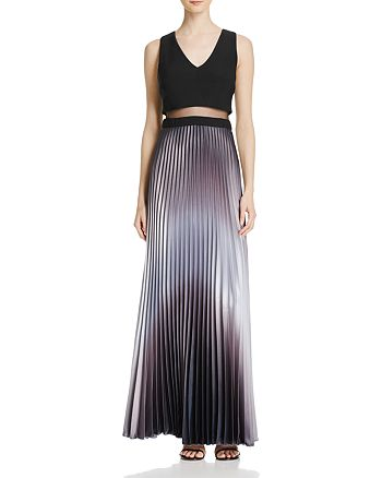 AQUA - Pleated Illusion Waist Gown- 100% Exclusive