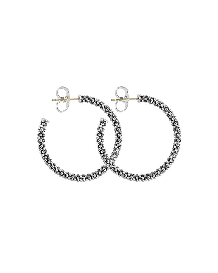 LAGOS - Beaded Thin Hoop Earrings, Sterling Silver, 28mm