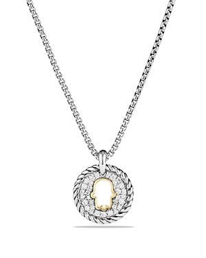 David Yurman Cable Collectibles Hamsa Charm Necklace with Diamonds with 18K Gold
