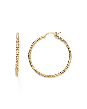 14K Yellow Gold Twisted Hoop Earrings - 100% Exclusive