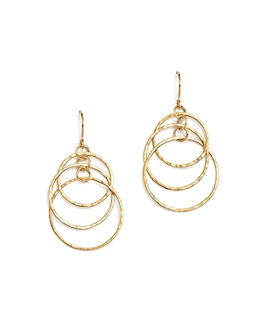 14K Yellow Gold Hammered Triple Ring Drop Earrings - 100% Exclusive