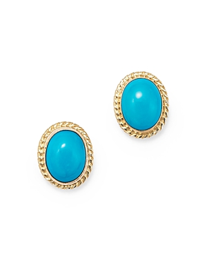 Turquoise Bezel Set Small Stud Earrings in 14K Yellow Gold - 100% Exclusive
