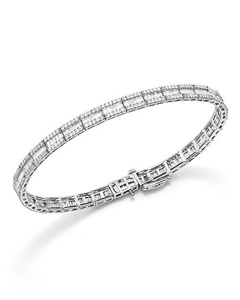 Bloomingdale's - Baguette and Round Diamond Tennis Bracelet in 14K White Gold, 3.25 ct. t.w. - 100% Exclusive