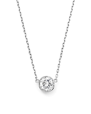 Diamond Bezel Set Pendant Necklace in 14K White Gold, .25 ct. t.w. - 100% Exclusive