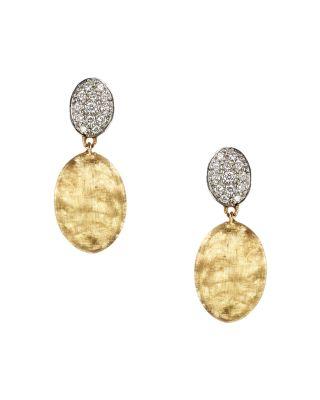 Siviglia Diamond, 18K Yellow & White Gold Drop Earrings, Yellow Gold
