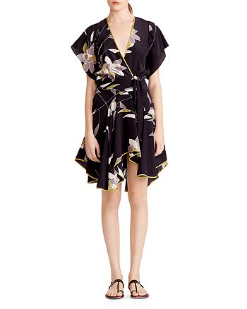 HALSTON HERITAGE - Floral Silk Faux Wrap Dress
