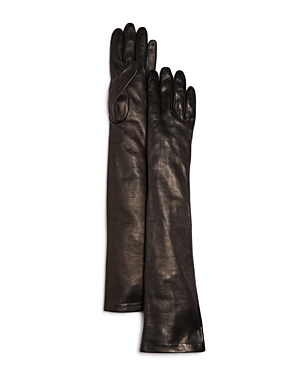 Vintage Style Gloves- Long, Wrist, Evening, Day, Leather, Lace Bloomingdales Long Leather Gloves - 100 Exclusive AUD 221.91 AT vintagedancer.com