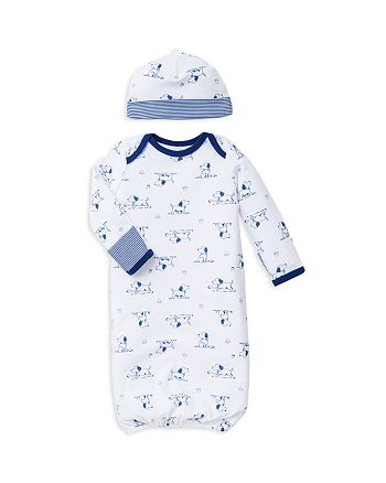 Little Me - Boys' Puppy Print Gown & Hat Set - Baby
