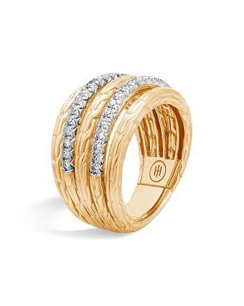 JOHN HARDY - 18K Yellow Gold Classic Chain Five Row Ring with Diamonds