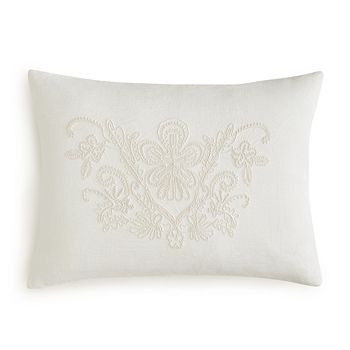 "Vera Wang - Passimenterie Floral Embroidery Decorative Pillow, 15"" x 20"""