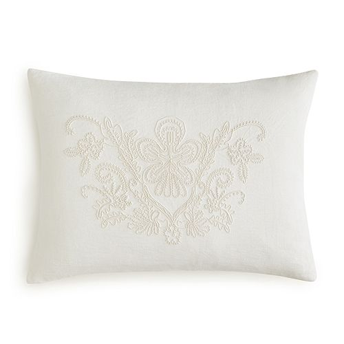 """Vera Wang - Passimenterie Floral Embroidery Decorative Pillow, 15"""" x 20"""""""