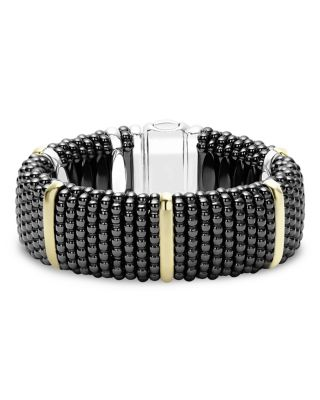 Black Caviar Ceramic Bracelet with 18K Gold and Sterling Silver